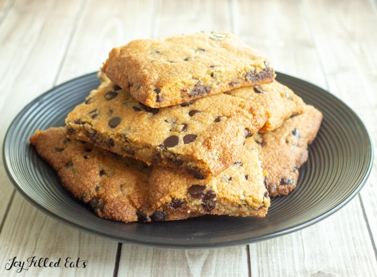 plate of chocolate chip cookie bars
