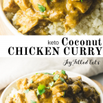 pinterest image for keto coconut chicken curry
