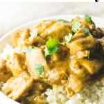 pinterest image for coconut chicken curry
