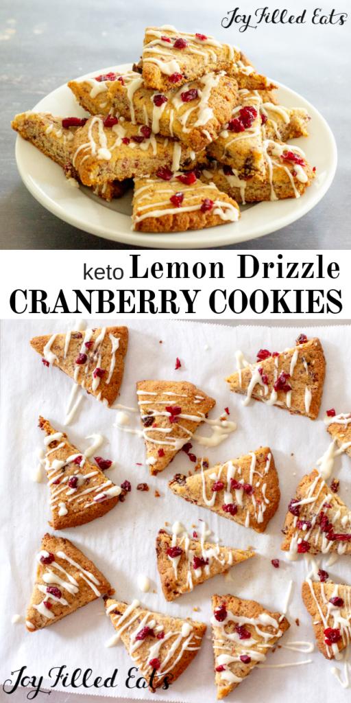 pinterest image for keto lemon drizzle cranberry cookies