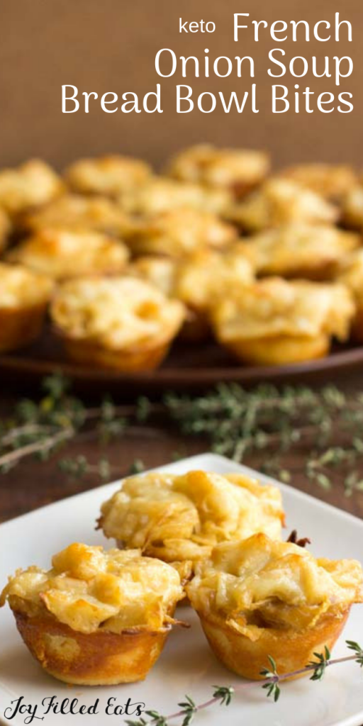 pinterest image for keto french onion soup bread bowl bites