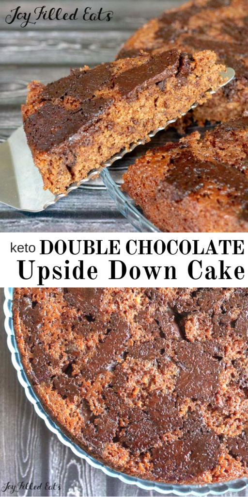 pinterest image for keto double chocolate upside down cake