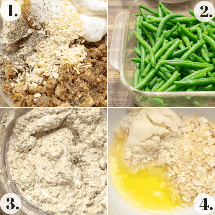 collage of pictures showing steps to make healthy green bean casserole