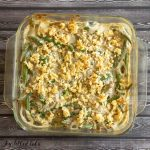 overhead view of healthy green bean casserole in square dish