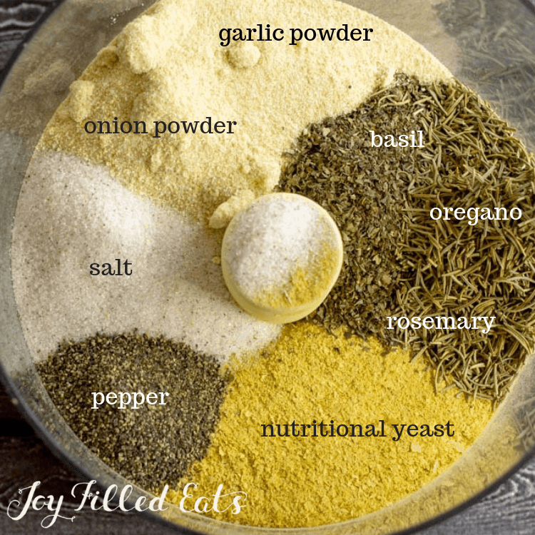 ingredients for homemade chicken bouillon powder in a food processor before being combined