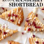 pinterest image for keto cranberry shortbread cookies