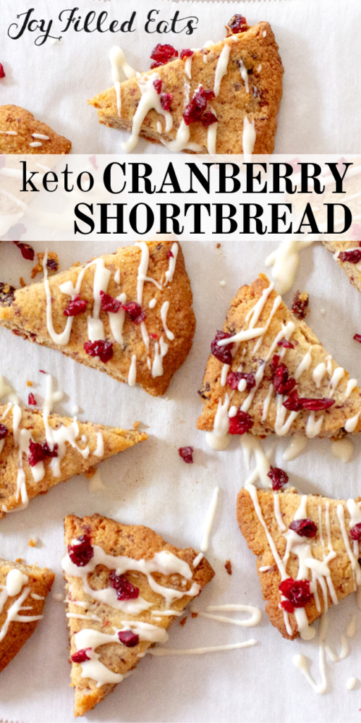 pinterest image for keto cranberry shortbread cookies