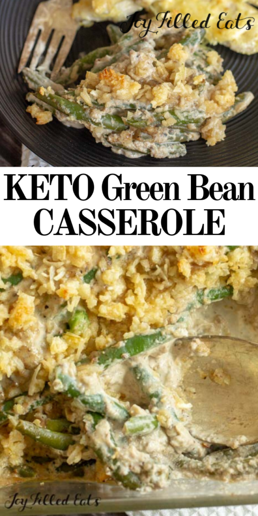 pinterest image for keto green bean casserole
