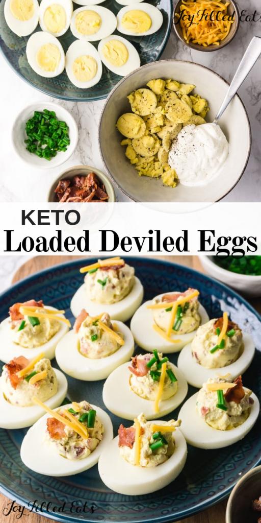 pinterest image for keto loaded deviled eggs