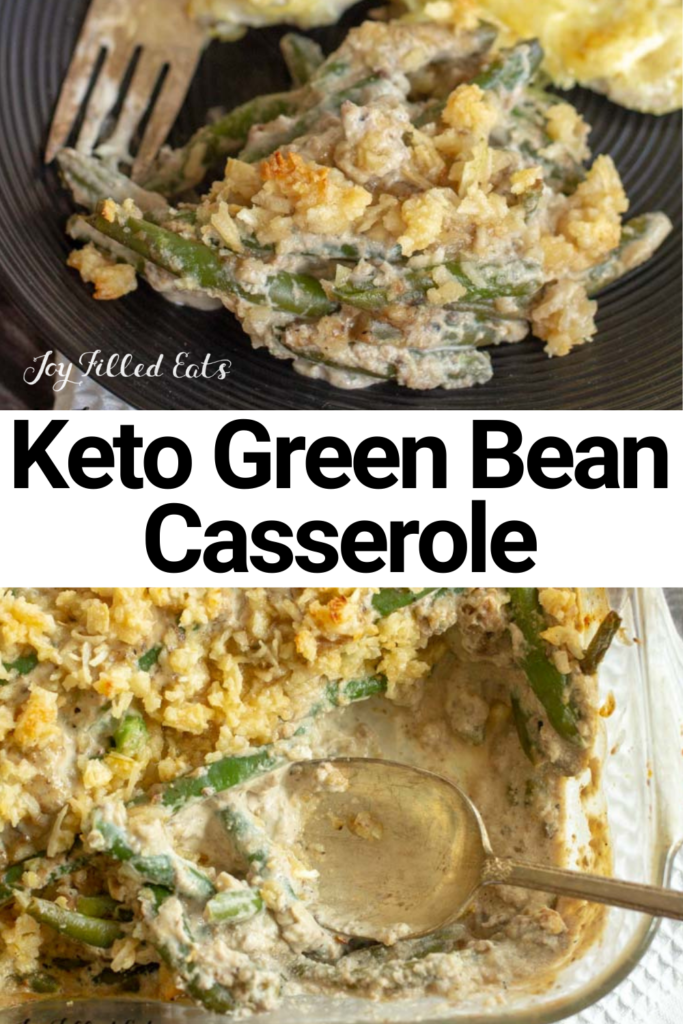 pinterest image for keto green bean casserole