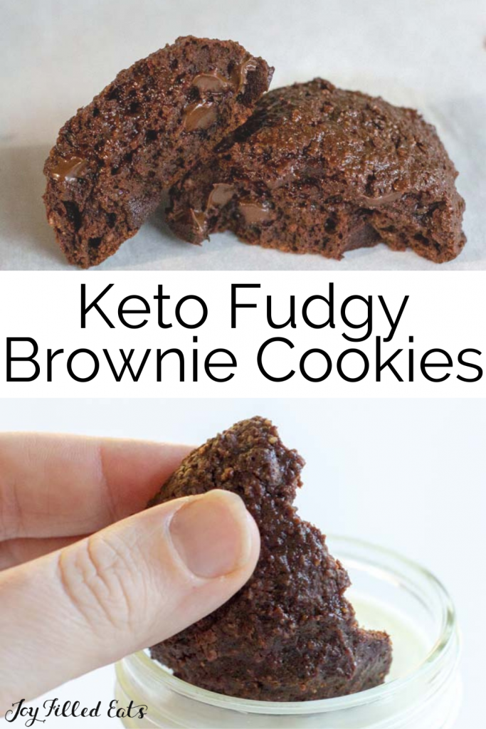 pinterest image for keto brownie cookies