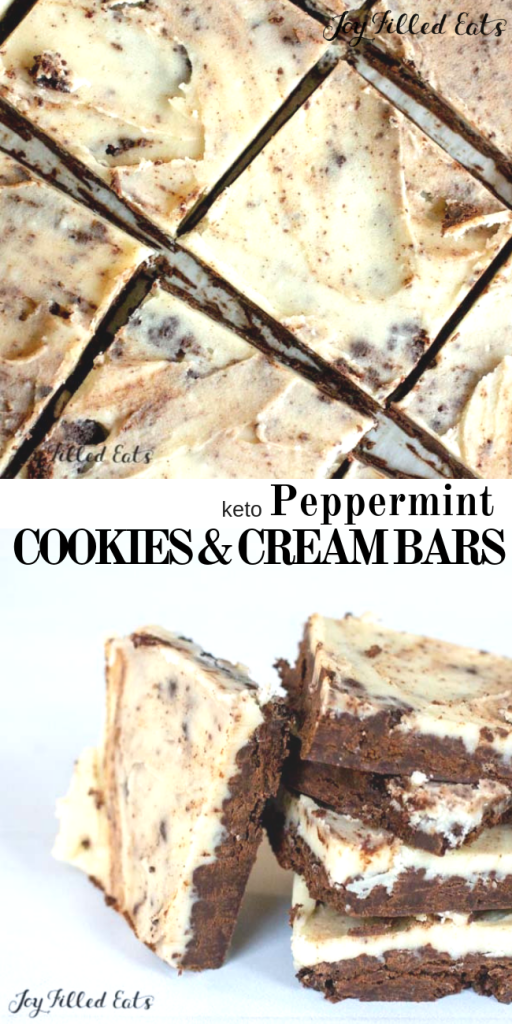 pinterest image for keto peppermint cookies & Cream bars