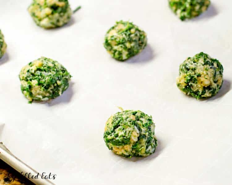 spinach balls ready to be baked