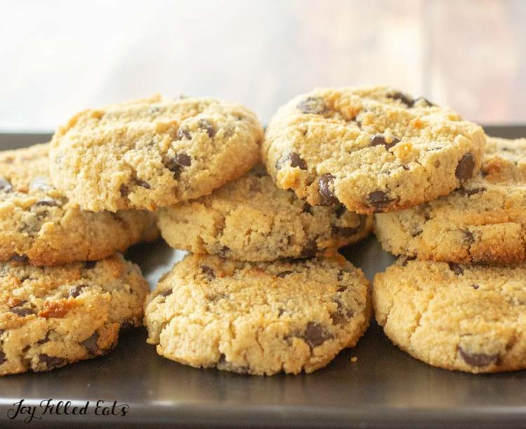 stack of the eggless chocolate chip cookies on a black platter