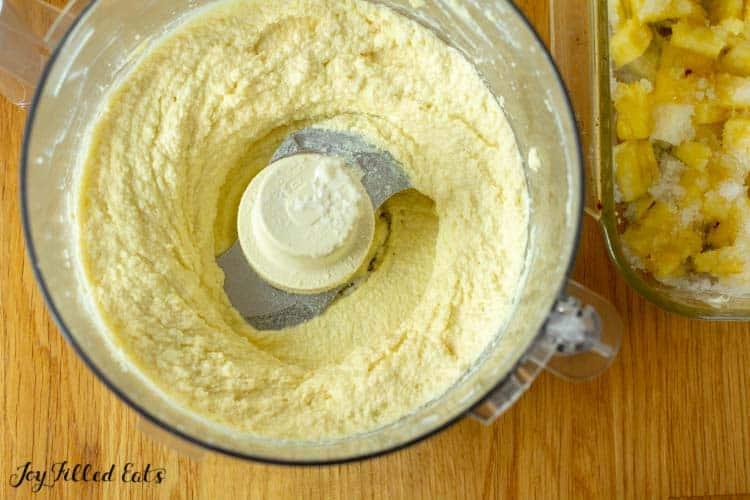 cake batter in food processor