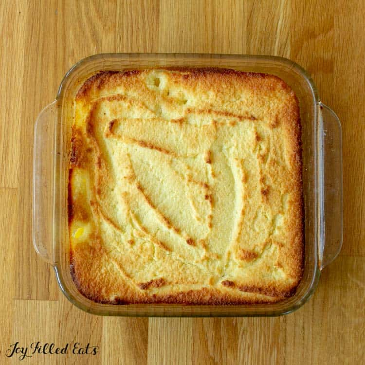 baked yellow cake in a glass dish