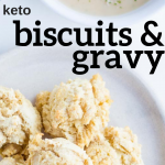 pinterest image for keto biscuits & gravy