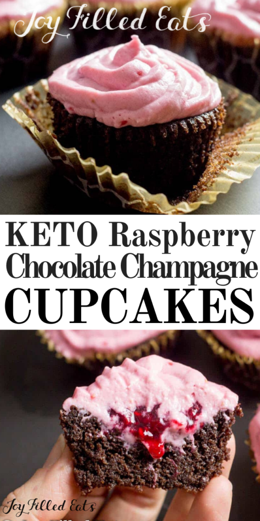 pinterest image for raspberry chocolate champagne cupcakes