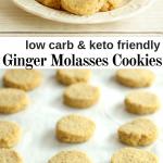 pinterest image for keto ginger molasses cookies