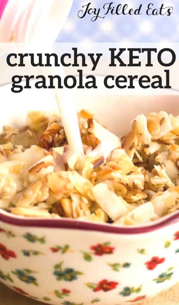 pinterest image for crunchy keto granola cereal