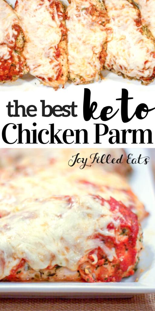 pinterest image for keto chicken parmesan