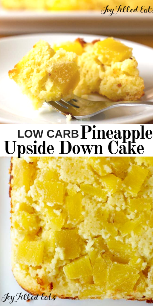 pinterest image for low carb pineapple upside down cake