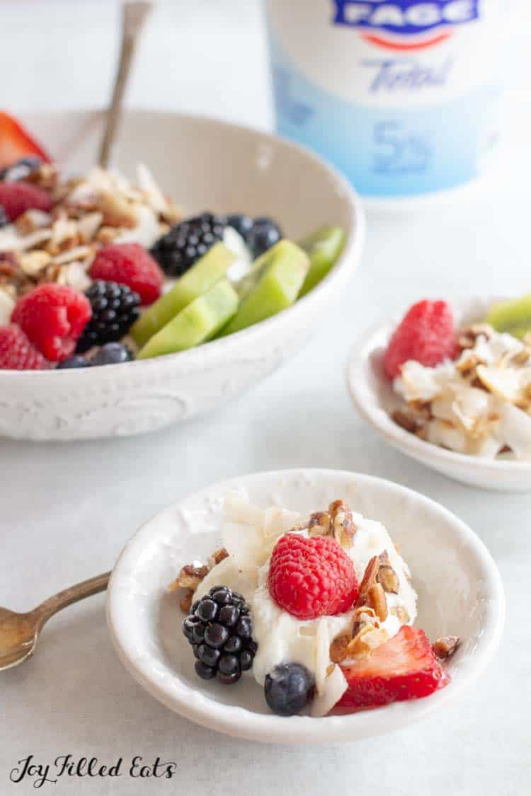 two small bowls of yogurt with fruit and granola topping in front of large bowl of yogurt parfait and Fage Total yogurt container close up
