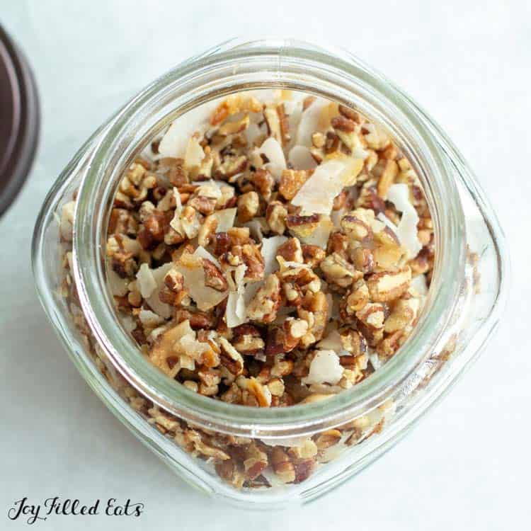 granola mixture in open jar from above