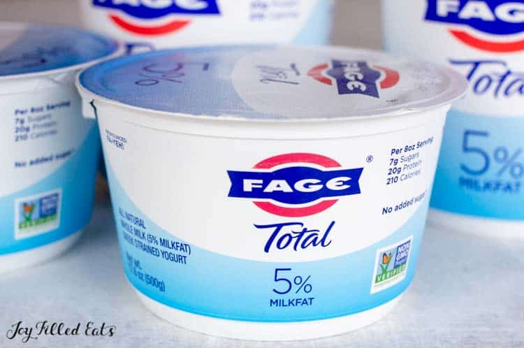 Fage Total yogurt in container close up