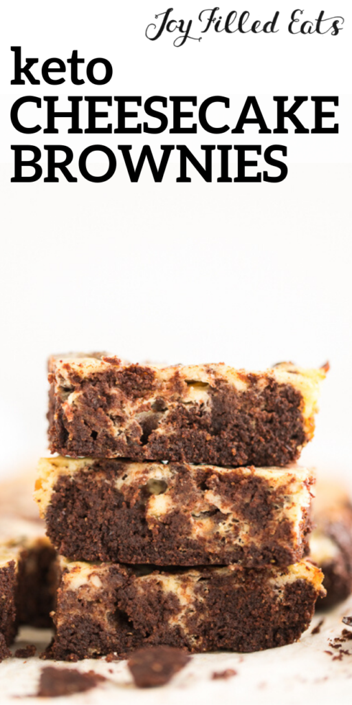 pinterest image for keto cheesecake brownies