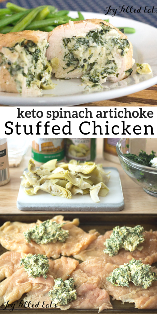 pinterest image for keto spinach artichoke stuffed chicken