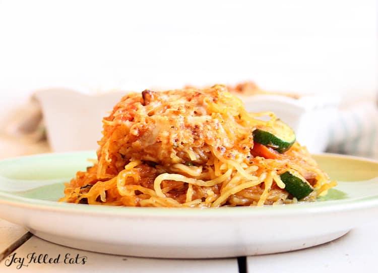 plate of stuffed baked spaghetti squash