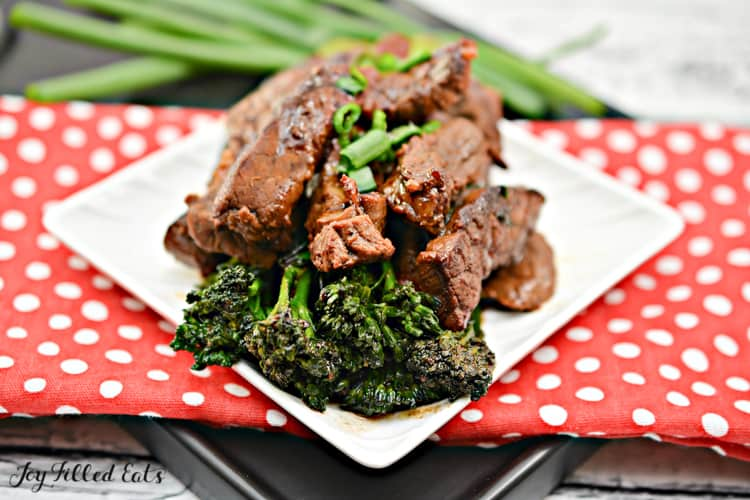 the beef and broccoli recipe on a serving plate