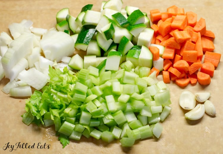 diced vegetables in individual piles