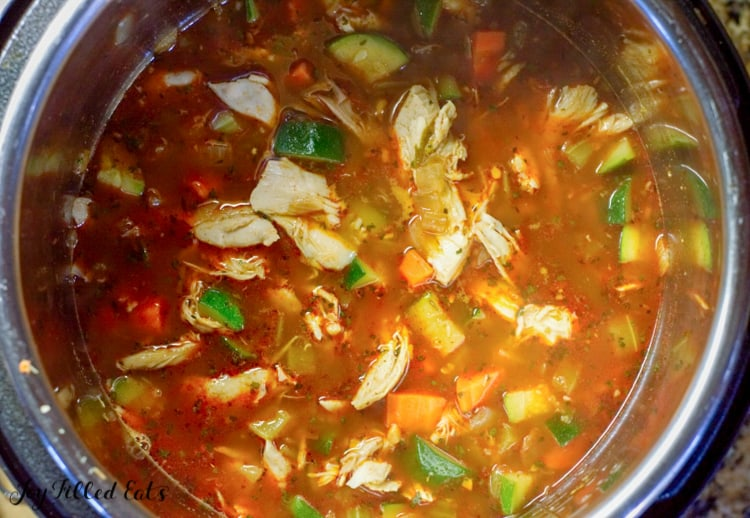 large pot of tex-mex chicken & rice soup from above