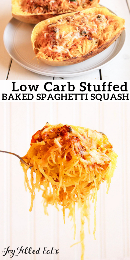 pinterest image for low carb stuffed baked spaghetti squash