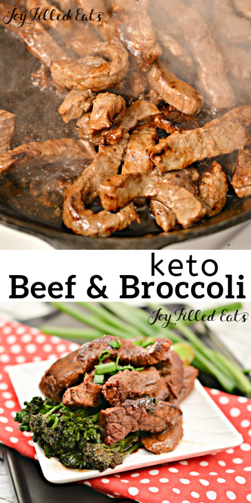 pinterest image for keto beef and broccoli