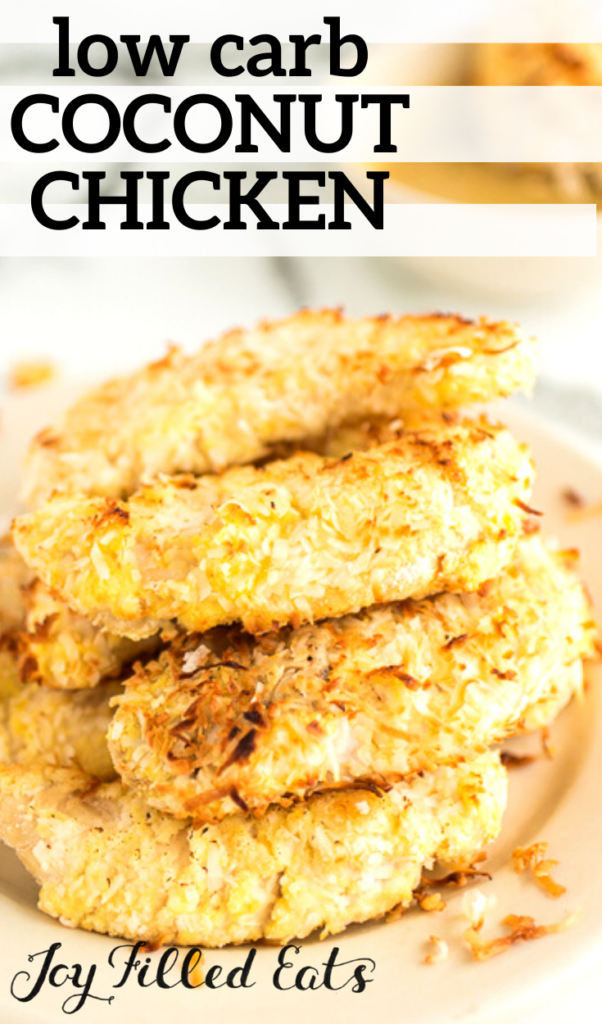 pinterest image for coconut chicken tenders