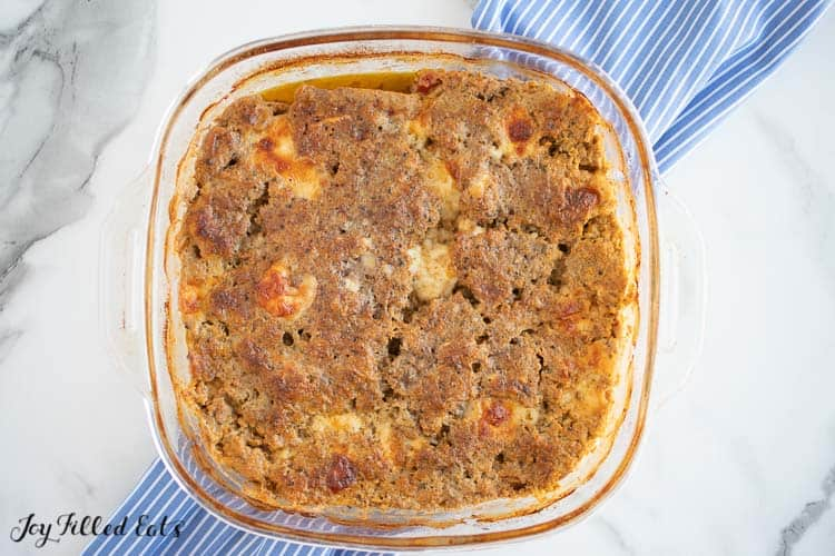 overhead view of baked turkey meatloaf in square casserole dish