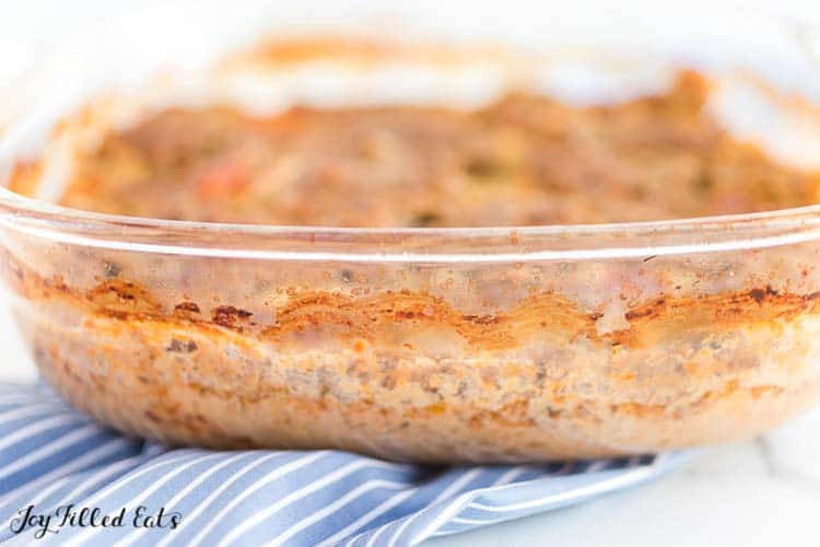 close up of casserole dish side containing ground turkey meatloaf