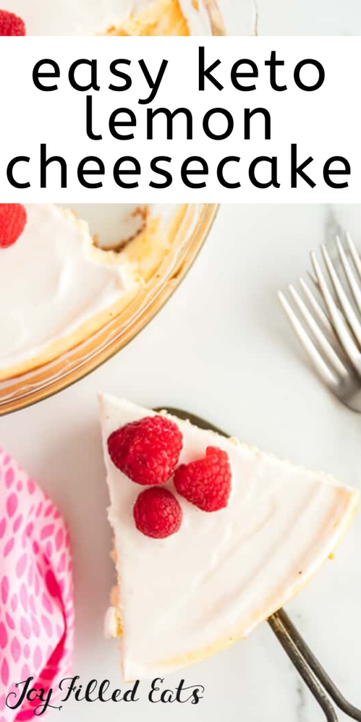 pinterest image for keto lemon cheesecake with sour cream topping