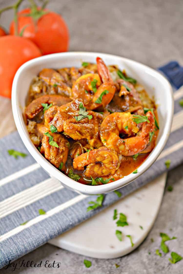 white bowl of shrimp curry