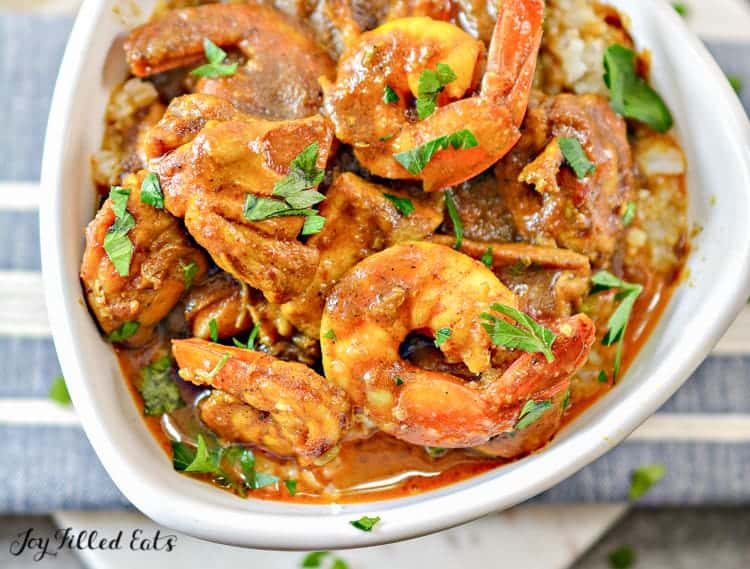 close up of the cooked shrimp curry recipe