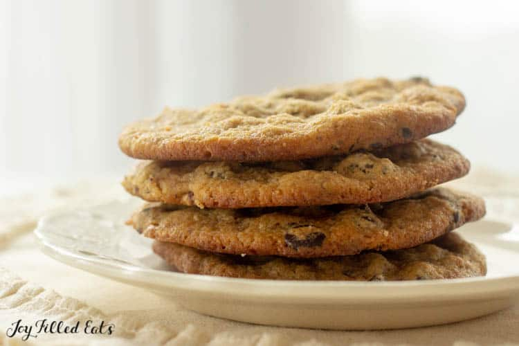 stack of almond flour chocolate chip cookies on a plate