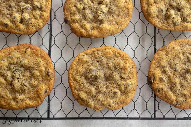 almond flour chocolate chip cookies on a cooling rack from above