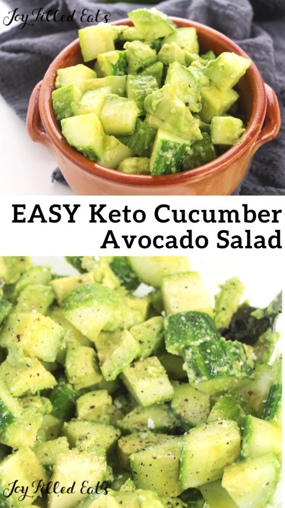 pinterest image for keto cucumber avocado salad