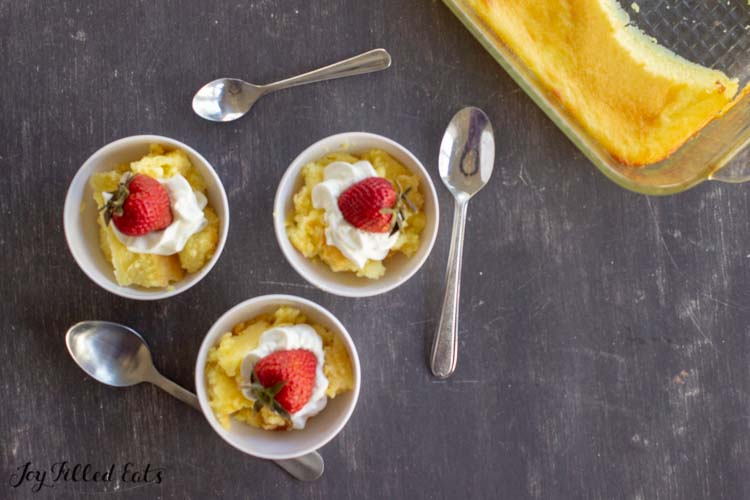 baked custard in serving bowls