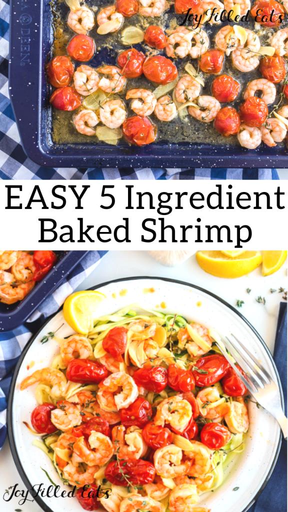 pinterest image for 5 ingredient baked shrimp