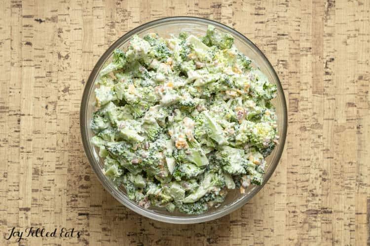 overhead view of healthy broccoli salad