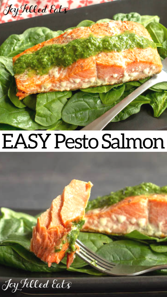 pinterest image for pesto salmon